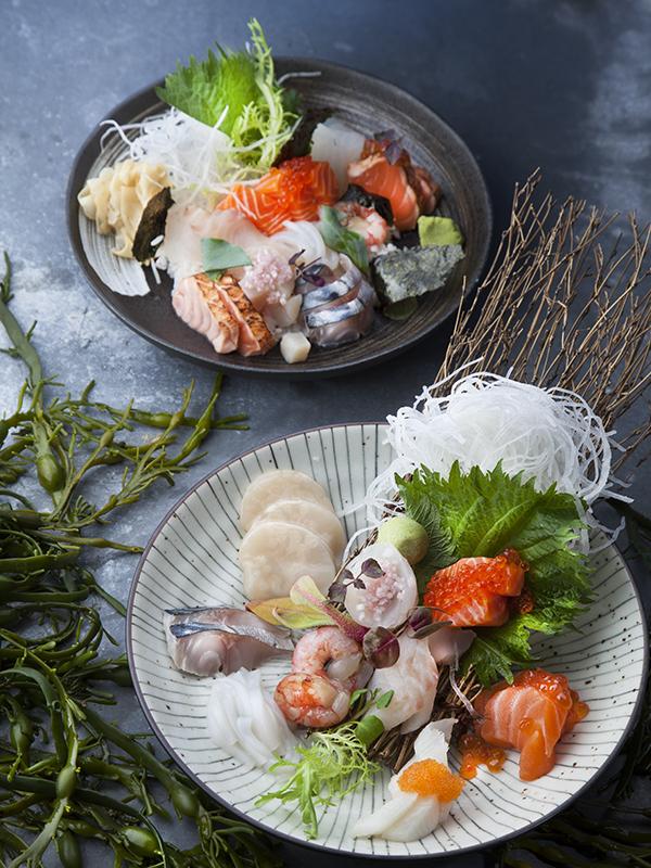 Sashimi med svarvad daikon